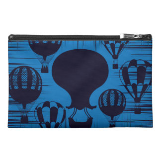 Vintage Hot Air Balloons Distressed Grunge Blue Travel Accessory Bags