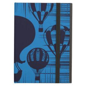 Vintage Hot Air Balloons Distressed Grunge Blue iPad Case