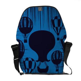 Vintage Hot Air Balloons Distressed Grunge Blue Messenger Bag