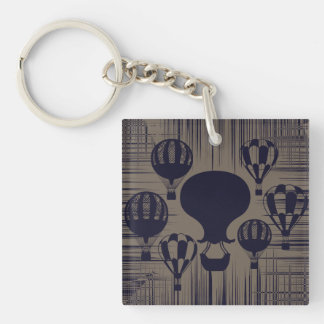 Vintage Hot Air Balloons Distressed Grunge Double-Sided Square Acrylic Keychain