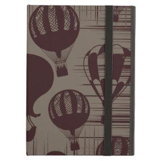 Vintage Hot Air Balloons Grunge Brown Maroon Case For iPad Air