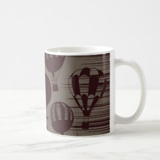 Vintage Hot Air Balloons Grunge Brown Maroon Coffee Mug