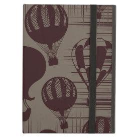 Vintage Hot Air Balloons Grunge Brown Maroon iPad Cover