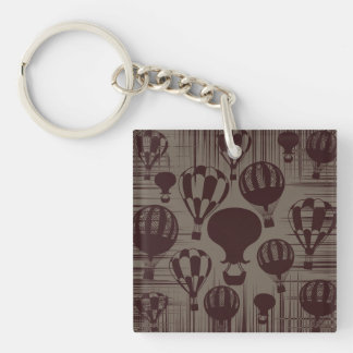 Vintage Hot Air Balloons Grunge Brown Maroon Keychain
