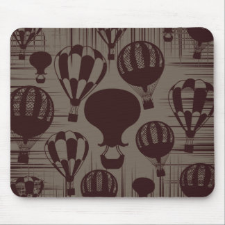 Vintage Hot Air Balloons Grunge Brown Maroon Mouse Pad