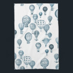 """Vintage Hot Air Balloons In Flight Kitchen Towel<br><div class=""""desc"""">Vintage hot air balloons whimsically float across the towel.</div>"""