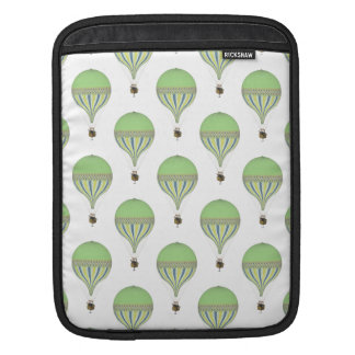 Vintage Hot Air Balloons in Lt Green Yellow Blue Sleeve For iPads