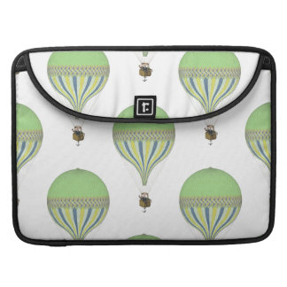 Vintage Hot Air Balloons in Lt Green Yellow Blue Sleeves For MacBook Pro