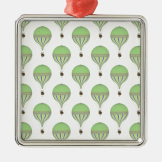 Vintage Hot Air Balloons in Lt Green Yellow Blue Metal Ornament