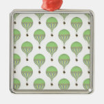 Vintage Hot Air Balloons in Lt Green Yellow Blue Square Metal Christmas Ornament