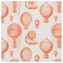 Vintage Hot Air Balloons in Orangered Fabric