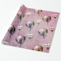 Vintage Hot Air Balloons Retro Floral Damask Wrapping Paper