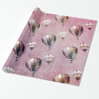 Vintage Hot Air Balloons Retro Floral Damask Gift Wrap Paper