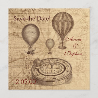Vintage hot air balloons Save the Date
