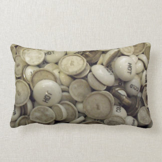 Vintage Hot and Cold Porcelain Knobs Lumbar Pillow