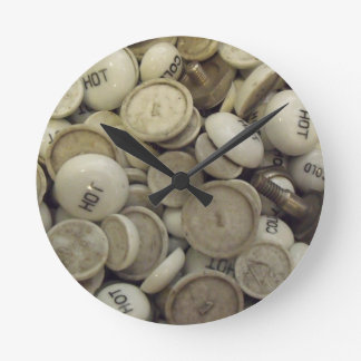 Vintage Hot and Cold Porcelain Knobs Round Clock