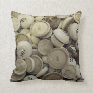 Vintage Hot and Cold Porcelain Knobs Throw Pillow