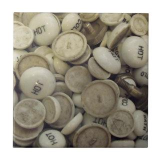 Vintage Hot and Cold Porcelain Knobs Tile