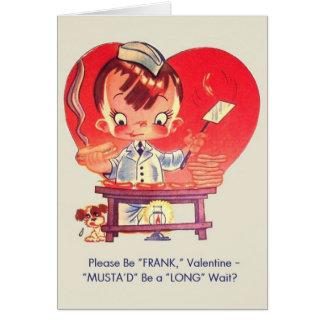 Vintage Hot Dog and Mustard Valentine Card