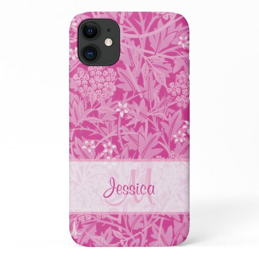 Vintage Hot Pink Floral Jasmine by William Morris iPhone 11 Case