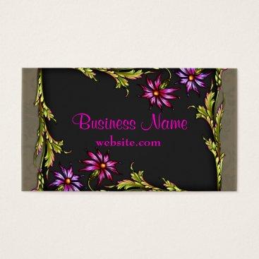 Professional Business Vintage Hot Pink Flowers Black Pink Business Cards