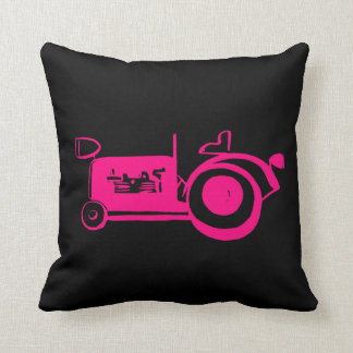Vintage Hot Pink Girly Tractor Throw Pillow