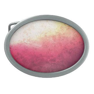 Vintage Hot Pink Grunge Floral Multicolor Pattern Oval Belt Buckles