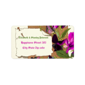 Vintage hot pink sweet pea flowers wedding label