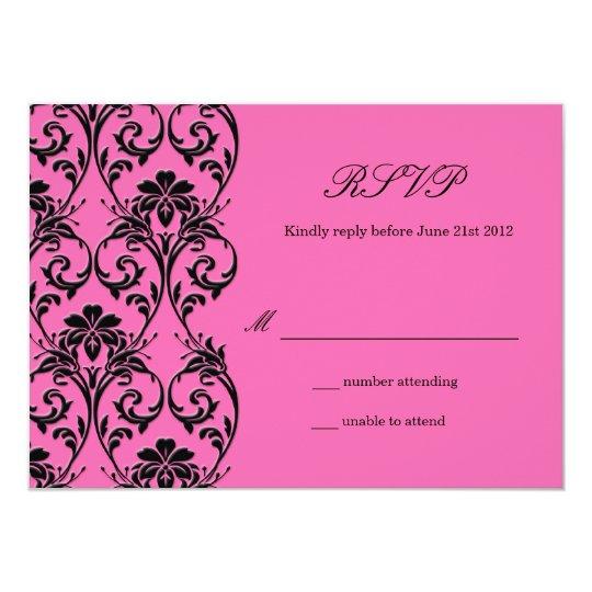 Vintage Hot Pink Swirl Wedding RSVP Card