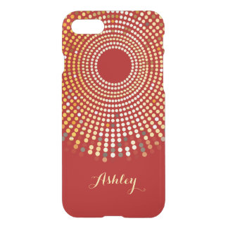 Vintage Hot Red Sparkle Radial Gold Dots Monogram iPhone 7 Case
