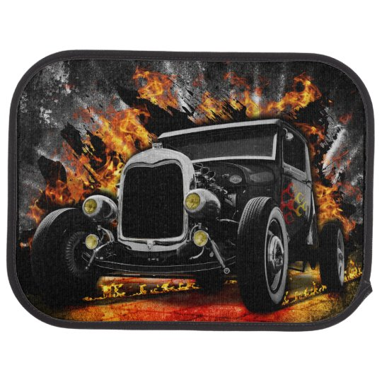 Vintage Hot Rod In Flames Car Mat Zazzle Com