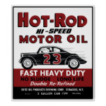 Vintage Hot-Rod Motor Oil tin can design Poster