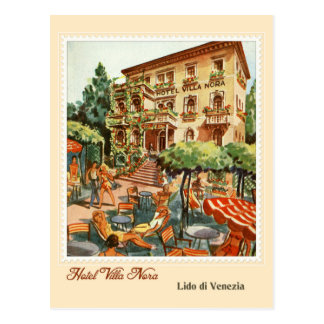 Vintage Hotel ad Lido Venezia (Venice Beach) Italy Postcard