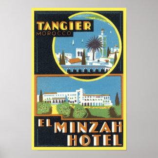 Vintage hotel del EL Minzah de Tánger, Marruecos Póster