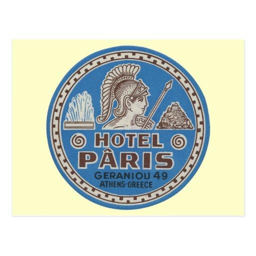 vintage hotel paris travel art postcard zazzle. Black Bedroom Furniture Sets. Home Design Ideas