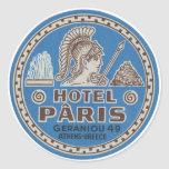Vintage Hotel Paris Travel Art Round Sticker