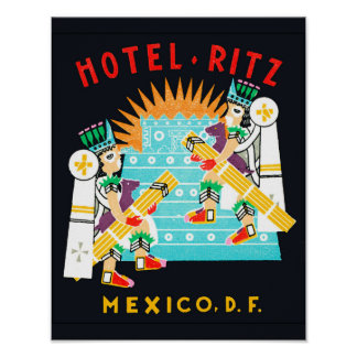Vintage Hotel Ritz Mexico D.F. Poster