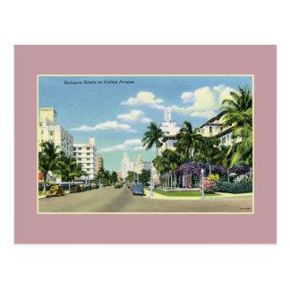 Vintage hotels on Collins Avenue Miami Beach Postcard