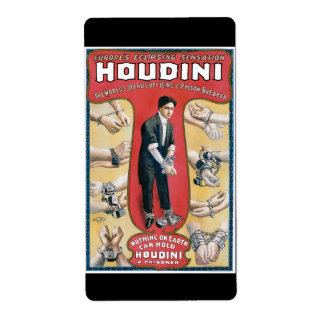 Vintage Houdini Handcuff King Advertising Poster Shipping Label