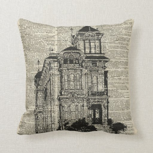 Vintage House Illustration Over Old Book Page Throw Pillow Zazzle