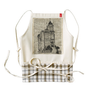 Vintage House Illustration Over Old Book Page Zazzle HEART Apron