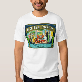 Vintage House Party Beer Label Tee Shirt