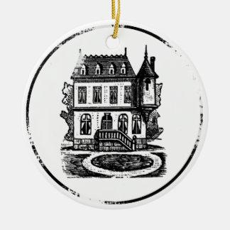 Vintage House Stamp Ceramic Ornament