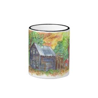 Vintage House Watercolor Landscape Ringer Mug