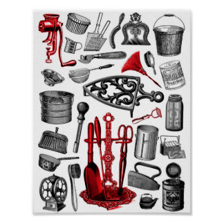 Vintage Household Items in Black White and Red Poster