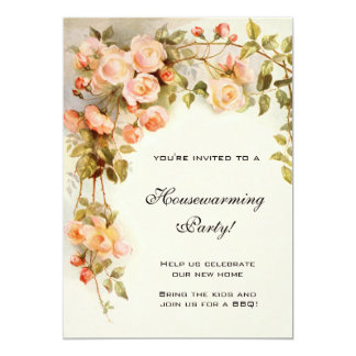 Vintage Housewarming, Antique Pink Rose Flowers Card