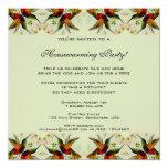 Vintage Housewarming, Hummingbirds Floral Flowers 5.25x5.25 Square Paper Invitation Card