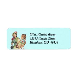 Vintage Housewife Errands run Return Address Label