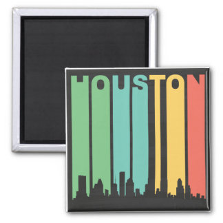 Vintage Houston Cityscape Magnet