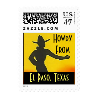 Vintage Howdy From El Paso Texas Ten GL Hat Stamps